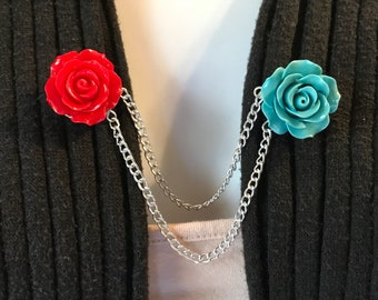 Sweater Pins: Red and Teal Rosettes