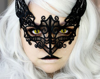 Black Lace Kitty Cat Mask embroidered