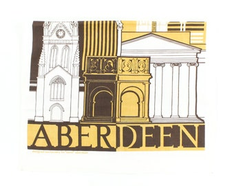 Vintage Aberdeen Towel - Scotland - Yellow and Brown Tourist Souvenir City Landmarks - Unused Novelty - Dish Tea Towel - Nova Gift Store