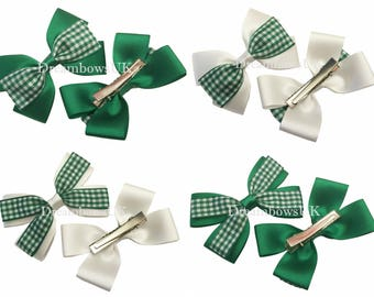 Emerald green and white gingham hair bows on alligator clips, green gingham hair accessories, gingham hair clips/slides, school gingham bows