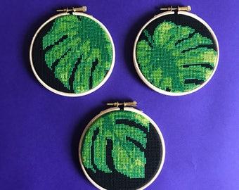 cross stitch kit modern tropical decor monstera cross stitch kit lush green decor plant cross stitch botanical tropical theme kit palm leaf