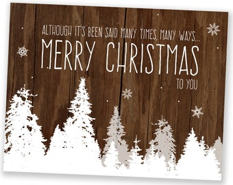 Set of 8 - Christmas Cards / Holiday Cards - Many Times Many Ways Trees - Reclaimed Wood Rustic Holiday Cards