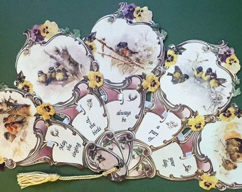 Victorian Paper Fan Greeting Card Gift Singing of the Birds