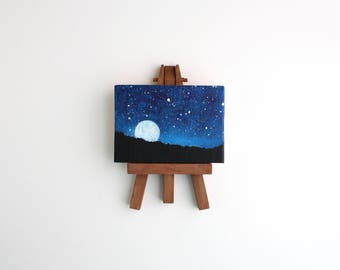 Miniature Moonrise Painting with Easel