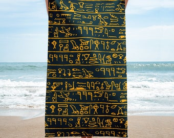 Egyptian hieroglyphs, Beach Towel