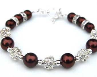 Chocolate Brown Bridesmaid Bracelet, Bridesmaid Jewelry, Fall Wedding Jewelry, Autumn Accessory
