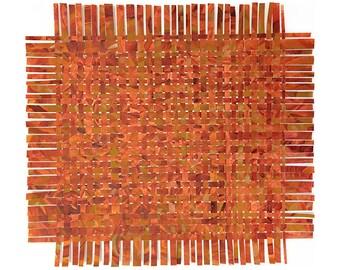 Orange Paper Weaving- 17x14- Handpainted Paper Art- Colorful Abstract- Orange, Yellow Ochre, Burnt Orange