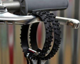 2 BLACK KNOBBY Dirt Bike Tire Wristbands
