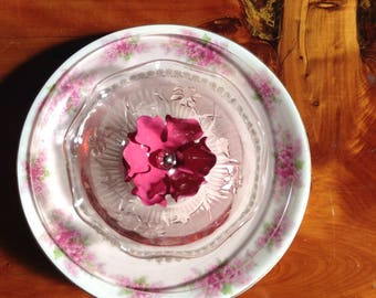 Flower made from vintage dishes