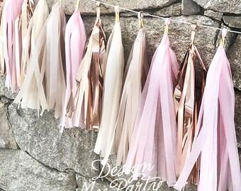 Blush Glam Pink & Rose Gold Tassel Garland Tissue Paper Balloon Tassel