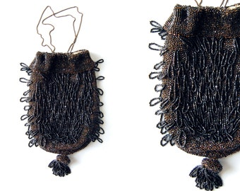 Antique Glass Beaded Drawstring Reticule Bag // Crochet Black tassel Evening Purse