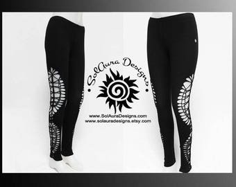 MOONDUST - Womens / Juniors Cut Up, Shredded and Weaved Black Leggings, Festival Wear, Burning Man Wear