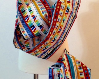 """School themed Infinity cotton scarf 36"""" with matching 5 x 7 x 6 in bag"""