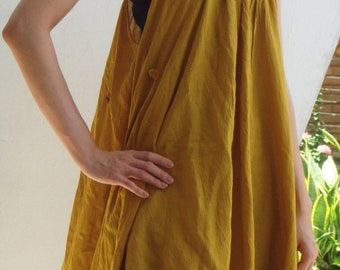 ON SALE 30% off, D10, Swan Yellow Cotton Dress, yellow dress