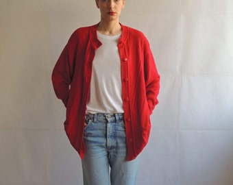Vintage Cherry Red Oversized Slouchy Button Up Sweader Cardigan