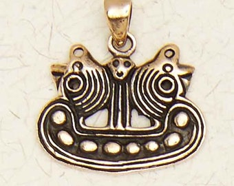 Norse Viking Ship-Medieval-Bronze-Pendant