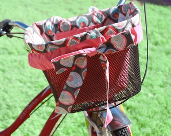 Gray and Coral Polka dot Paisley  Bike Basket liner for Front Baskets:  Bell Lotus, Huffy, Electra  Bike baskets Metal Wire Wicker or Mesh