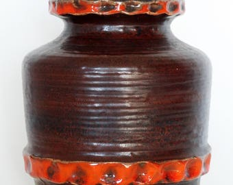 Carstens Mid Century Chocolate Brown & Orange Round West German Vase