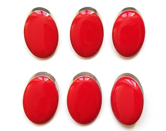 6 buttons round oval red enamel and silver metal 22 mm / top quality