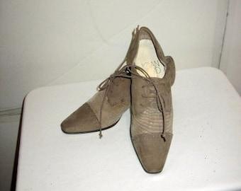 sz 8 m vintage 80s two tone lace up oxford shoes low heel JOAN &DAVID