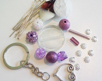 Sale! Complete DIY Cluster Keychain Kit. All items in photograph included (Q33)