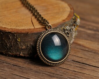Tiny dark green pendant, antique brass necklace, glass dome pendant, antique brass pendant, glass dome necklace, dark green necklace