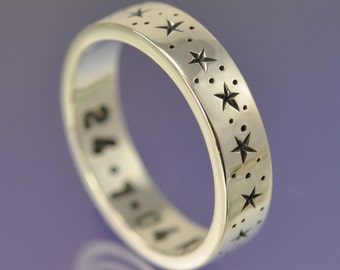 Twinkle Little Star -Sterling Silver custom made ring. Custom message