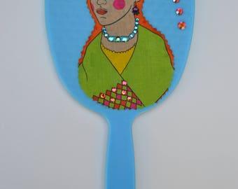 Frida Kahlo handheld mirror, handheld mirror, vanity mirror