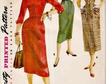1950's Sheath Dress Pattern SIMPLICITY 1261  Kimono Sleeves 1955 Vintage Sewing Pattern Retro Rockabilly UNCUT, Factory Folded Bust 34