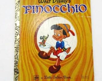 Vintage Walt Disneys Pinocchio Little Golden Book Childrens Book 1979