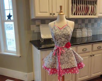 Sweetheart Pink -  Cute for Bridal Shower  ~Sadie Style Women's Apron ~ 4RetroSisters