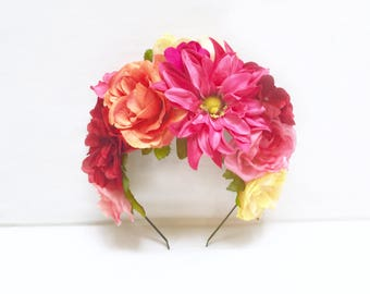 Mexican Flower Crown, Pink, Orange, Frida Headpiece, Mexican Flower Headband, Kahlo,Flower Crown, Day of the Dead, Floral, Cinco de Mayo