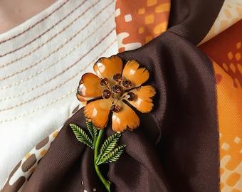 Vintage 60s Marigold Flower Brooch w/ Rhinestones