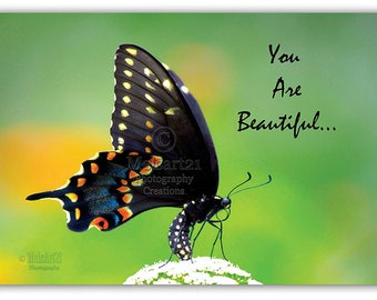 "Thank You Greeting Card Swallow Tail ""You Are Beautiful"" Butterfly Half-Fold Photo by Melsart21 Photography Creations"