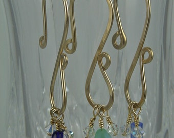 Wine Charms - 14k Gold Filled, Hammered Round Wire - set of 4