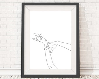 Giclee print A2 size - Minimal line drawing of woman's hands - Black and white illustration artwork