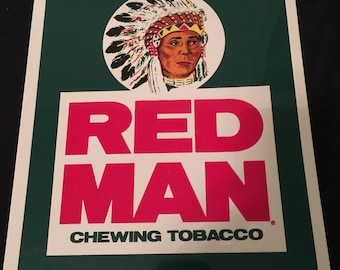 Vintage 90s Redman  Americas Best Chewing Tobacco Advertising Plastic Sign Snapback Red Man Nos New
