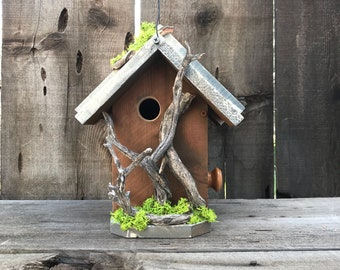Birdhouse Handmade Cedar Wood Hand Painted  Outdoor Bird House Caramel & White, Manzanita Driftwood Birdhouses, Item #600492114