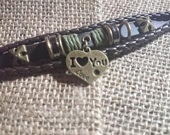 I Love You leather charm bracelet