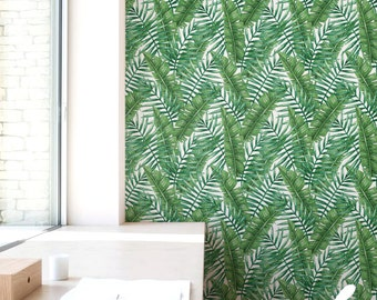 Removable Wallpaper, Watercolour Palm leaf Wallpaper, Self-adhesive Wallpaper, Banana leaves Wall Décor, Flower Wallcovering - JW050
