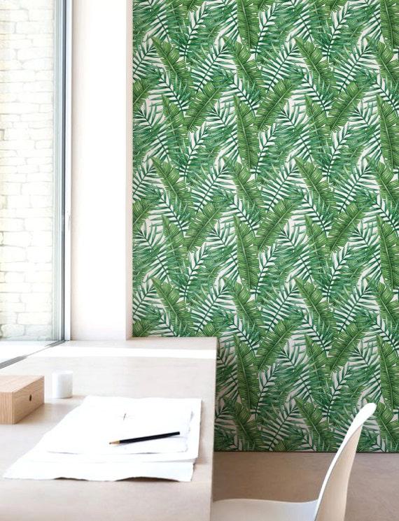 Removable Wallpaper Watercolour Palm Leaf