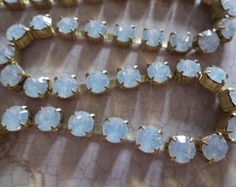 6mm White Opal Rhinestone Chain - Brass Setting - White Opal Czech Crystals- Large Crystal Size 29SS