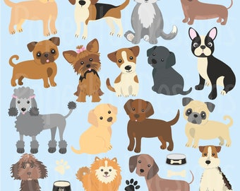 Dog Clipart-Dog Clip Art-Puppy Clipart-Puppies-Puppy Dog Clipart-Daschund-Yorkshire Terrier-Labrador-Pug-Poodle-Beagle-BUY2GET1MOREFREE