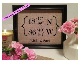 FRAMED Housewarming Gift, Latitude Gift, Longitude Gift, New Home, Latitude Longitude Sign, Latitude Longitude, Gps Coordinates, home gift