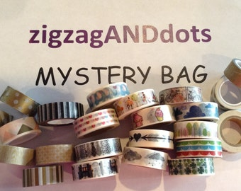 Mystery Grab Bag of Washi Tape Samples, Quantity of 8, 10, or 12 Samples, 24 Inches, Scrapbooking, Cardmaking, Planner Decorations