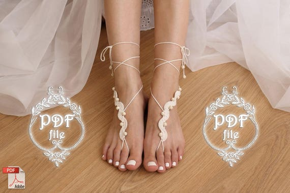 Barefoot Sandals Crochet Pattern Diy Tutorial Bare Foot Sandles