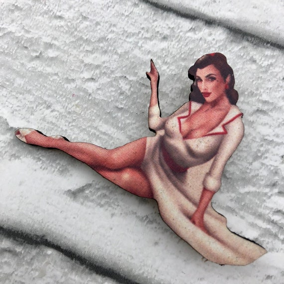 Sophie Pinup Girl  Brooch Pin Rockabilly 1950's Inspired