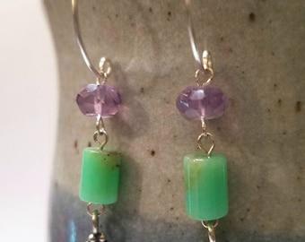 Dainty Amethyst & Chrysoprase Dangle Handcrafted Silver Earrings