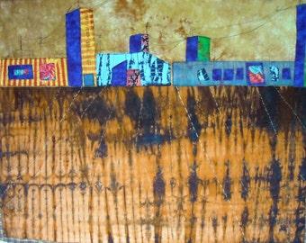 Prairie poetry fiber textile art wall hanging