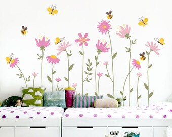 Flowers with Bees and Butterflies Wall Decal